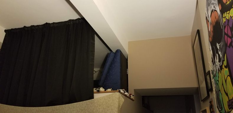 The partial screening curtain for my sleeping loft.