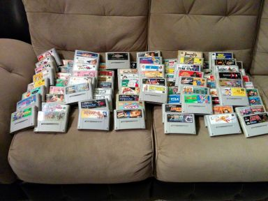 The huge lot of Japanese Super Famicom games that I started with.