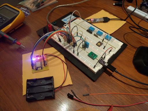 My temperature sensor project in its breadboard infancy stage.