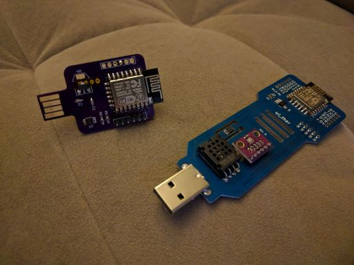 The prototype and final wi_ther environmental sensor.