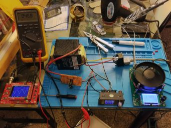An end-to-end test set up of my power supply.