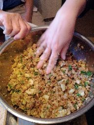 Stuffing, almost ready to bake. (http://goo.gl/6l9hQ -- which was DELECTABLE)