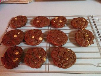 Chocolate cookies with peanut butter and chocolate chips.