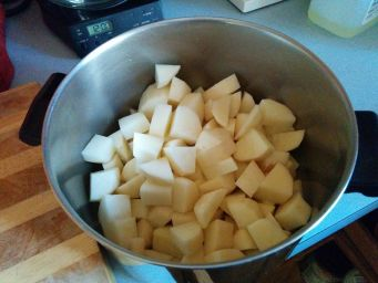 Diced potatoes.