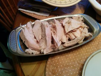 Sliced turkey.