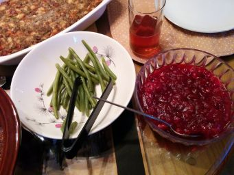 Green beans and cranberry sauce.