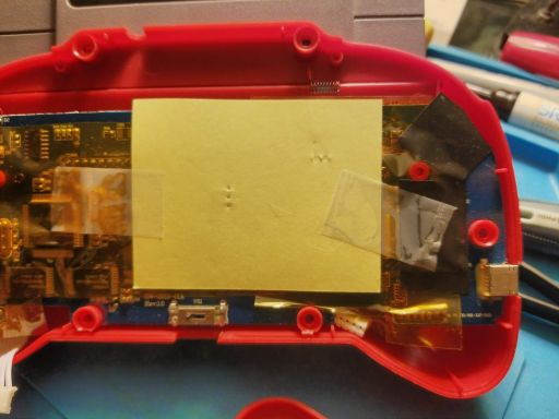 Close up of the repair.  Note the indentations in the card.