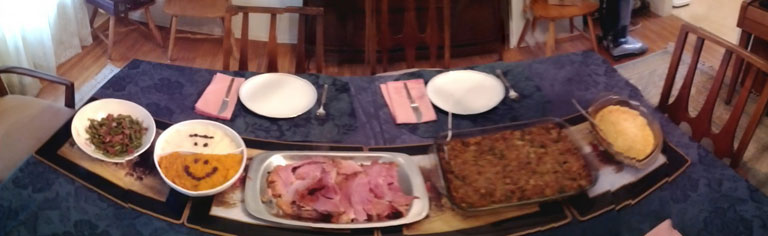 Panoramic shot of the Xmas dinner spread.
