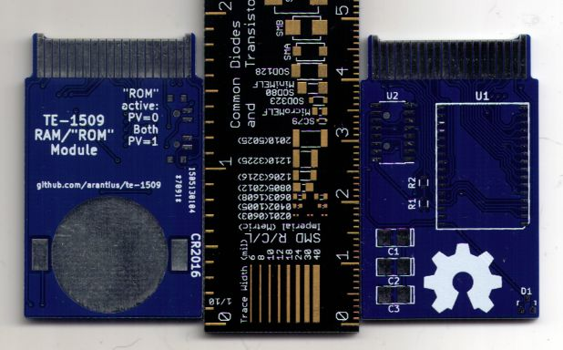 The TE-1509 memory expansion board, fabbed by DirtyPCBs.