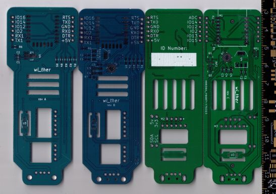 Three revisions of my wi_ther board.  Rev A by Elecrow, rev B by Seeed, Rev C by EasyEDA.