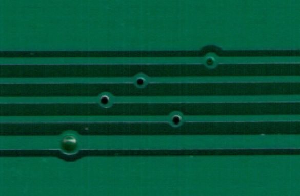 Detail view of the micro vias in this board fabbed by Elecrow.