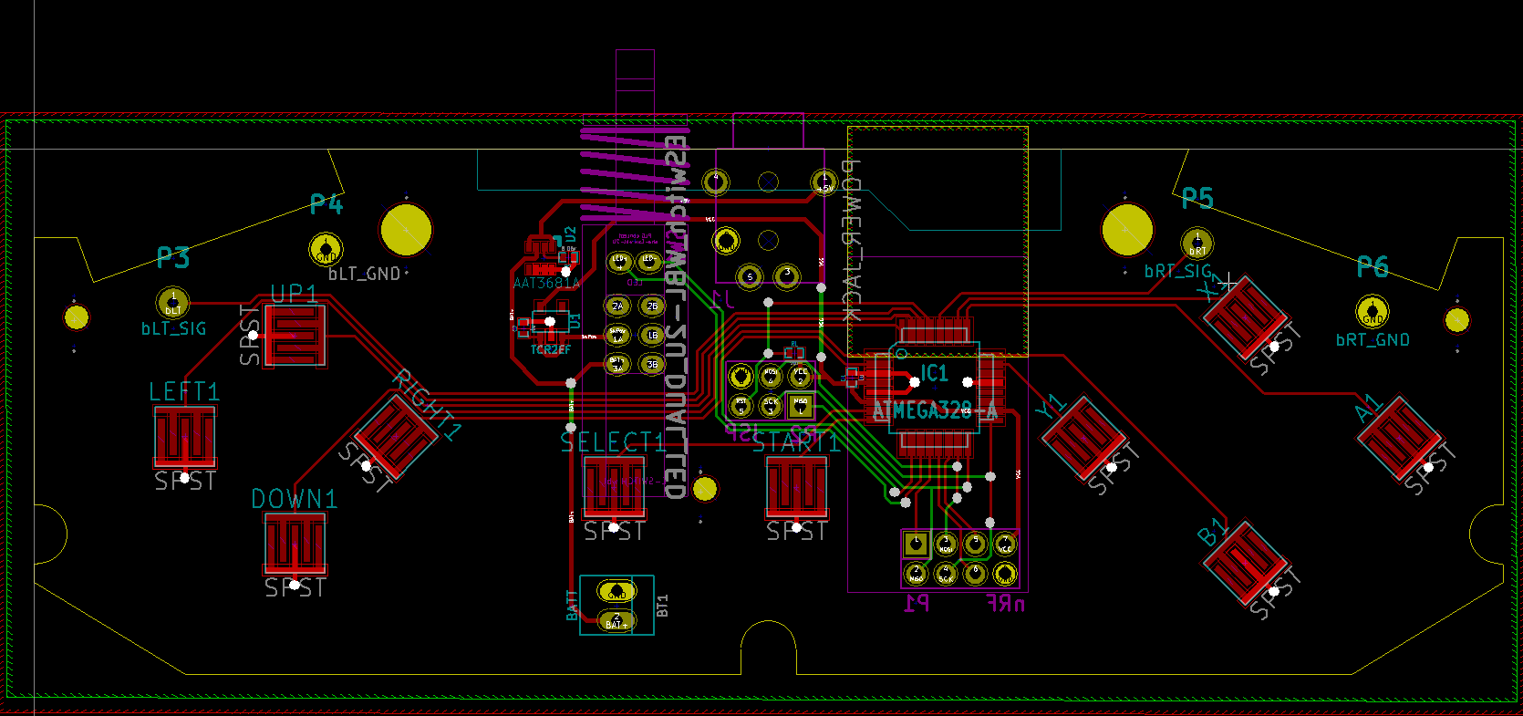 Early Designs Wireless Retrofit For Nes And Snes Controllers Eagle Cad Controller Schematic Display The Pcb My Design So Far
