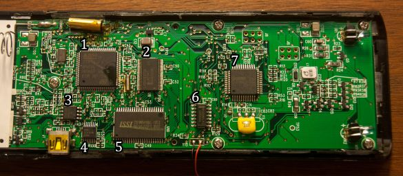Close up of the Nevo C2 PCB, with chips numbered.
