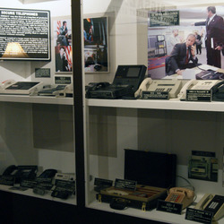 A selection of 'secure telephones'.  This was beside the nearly-room-size machine that preceded it.