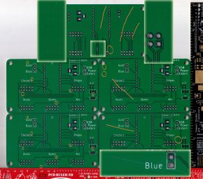 Several copies of a simple square PCB manufactured by Seeed Studio's Fusion service, with issues marked.
