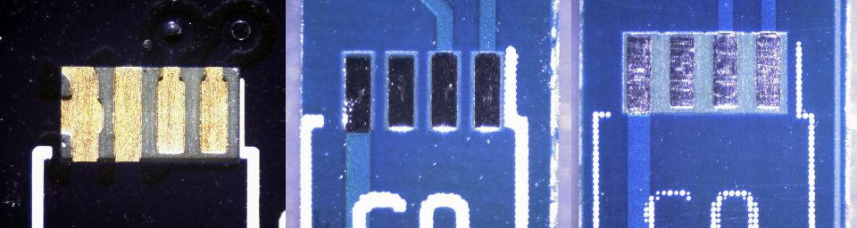 Comparison of the fabbing of the same footprint by three PCB fabs.  Left to right: OSH Park, Elecrow, and Seeed Studio's Fusion.