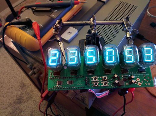 My VFD clock, powered on and operational.
