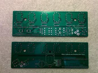 Both sides of the PCB I designed for this VFD Clock project.