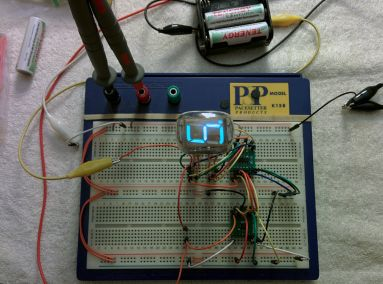 The first working prototype of my VFD clock, close angle.